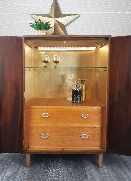 Gold geometric design vintage drinks cabinet