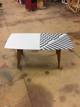 coffee table upcycled with eye catching geometric black and white design leeds workshop