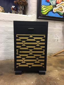 upcycled cabinet black and gold geometric diamond design done up north style