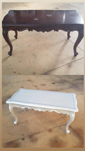 before and after vintage coffee table upcycled to white and blue edging