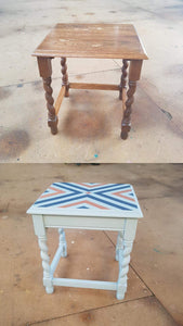 before and after side table geometric upcycled masking tape design