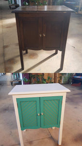 before and after cabinet green white and gold geometric upcycled design