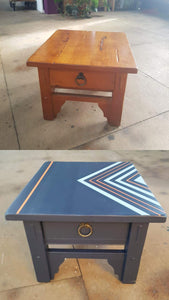 before and after side drawer geometric design blue gold