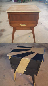 before and after side table with geometric sun shine design gold and black
