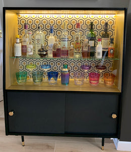 Vintage Bookshelf / Display Cabinet transformed into a Drinks Cabinet