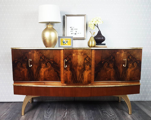Refinished Walnut & Gold Beautility Sideboard with pull out cocktail cabinet