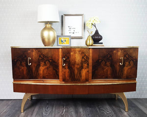 Rare Refinished Walnut & Gold Beautility Sideboard with pull out cocktail cabinet