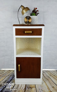Unique re-styled hand painted Vintage bedside cabinet / Side table with gold and white design