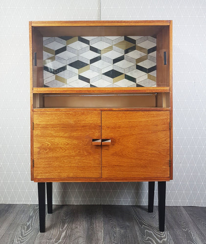 Tall Vintage Oak drinks / display cabinet with geometric design and gold LED shelf