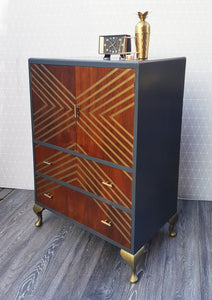Upcycled Vintage Oak Drinks Cabinet - Dark Grey & Bronze Geometric Design