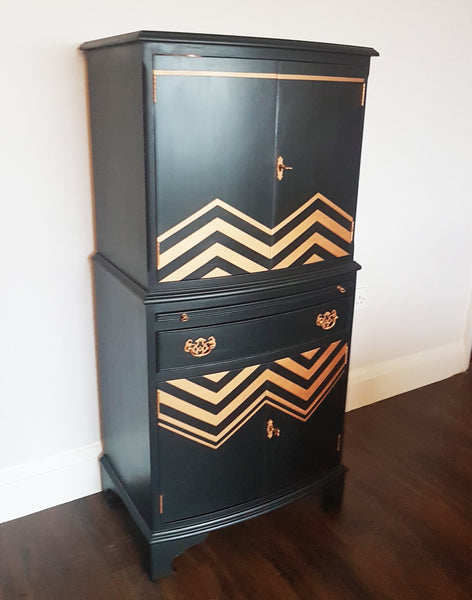 Black & Copper Drinks Cabinet