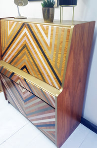 Vintage Teak Mid Century Bureau Upcycled With Geometric Design in Metallic shades of Gold and Black.