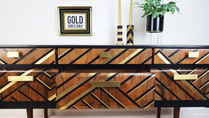 Vintage Sideboard With Black & Gold Metallic Leaf geometric design