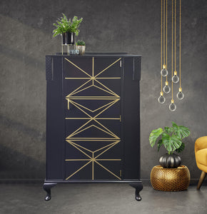 Gold and grey geometric vintage cabinet