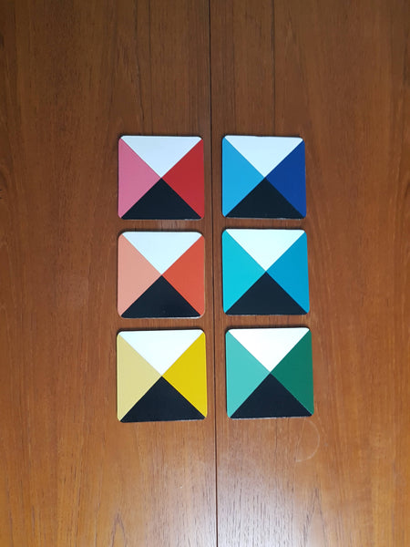 Handpainted Geometric colour cube coasters