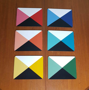 Handpainted geometric colour cube placemats