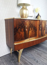 Stunning Walnut veneer & gold leaf cocktail cabinet sideboard