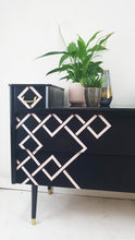 'Miami' inspired Art Deco design sideboard with pale Pink and Black geometric design