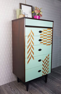 Pale green herringbone design tall MCM chest of drawers
