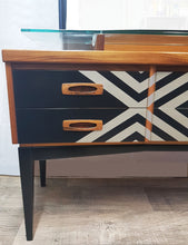 Customised Teak vintage dressing table / side board with metallic geometric design