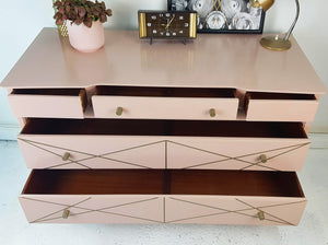 Vintage Sideboard With Pale Pink And Gold / Bronze Metallic Geometric Design