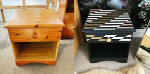 before and after bedside table upcycled furniture leeds