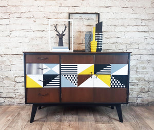 Restored and re-styled 1950s Vintage Sideboard With Hand Painted Geometric Design