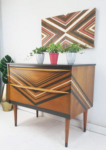 Vintage Mid Century Teak Upcycled Chest Of Drawers, With A Geometric Metallic Chevron Design