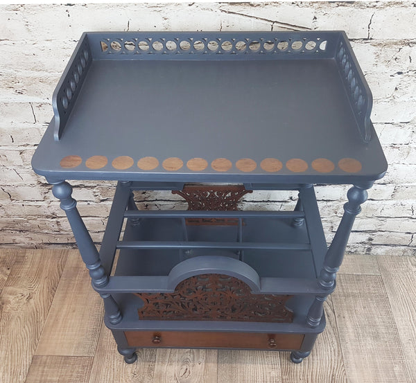 Grey Victorian Canterbury side table