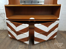 Teak vintage shelf / storage unit revamped with geometric chevron design