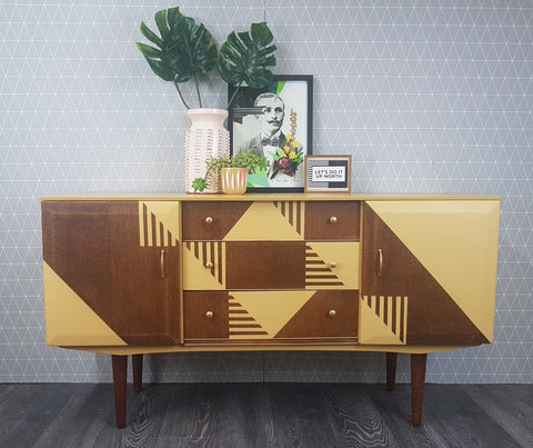 Hand-painted yellow geometric design vintage sideboard