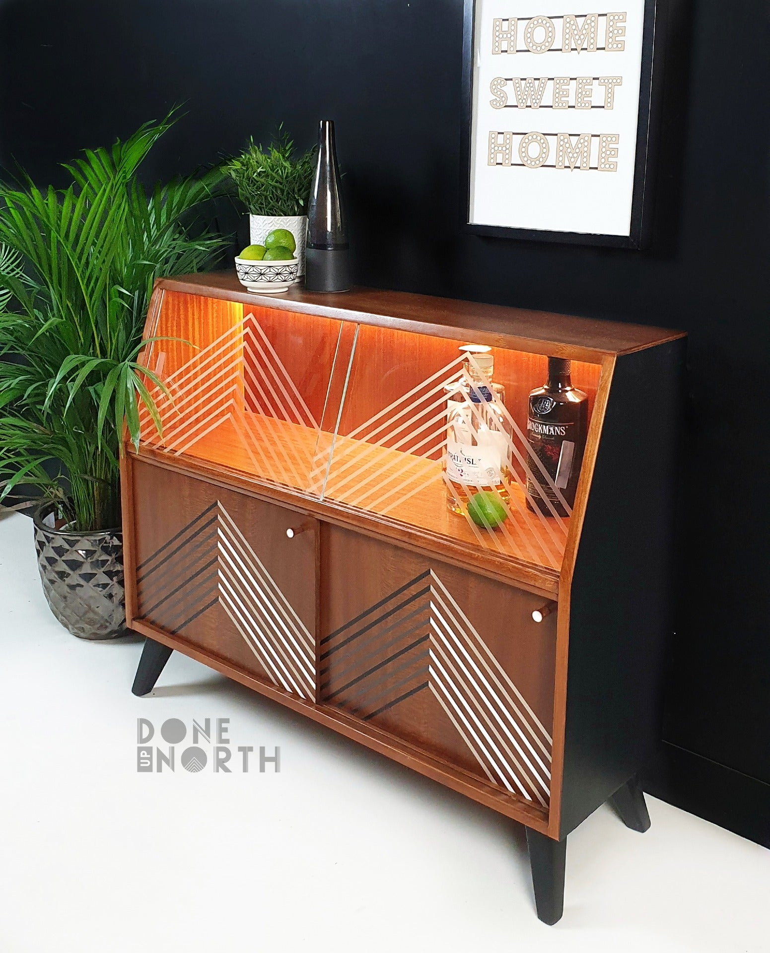 Done up North geometric cocktail sideboard