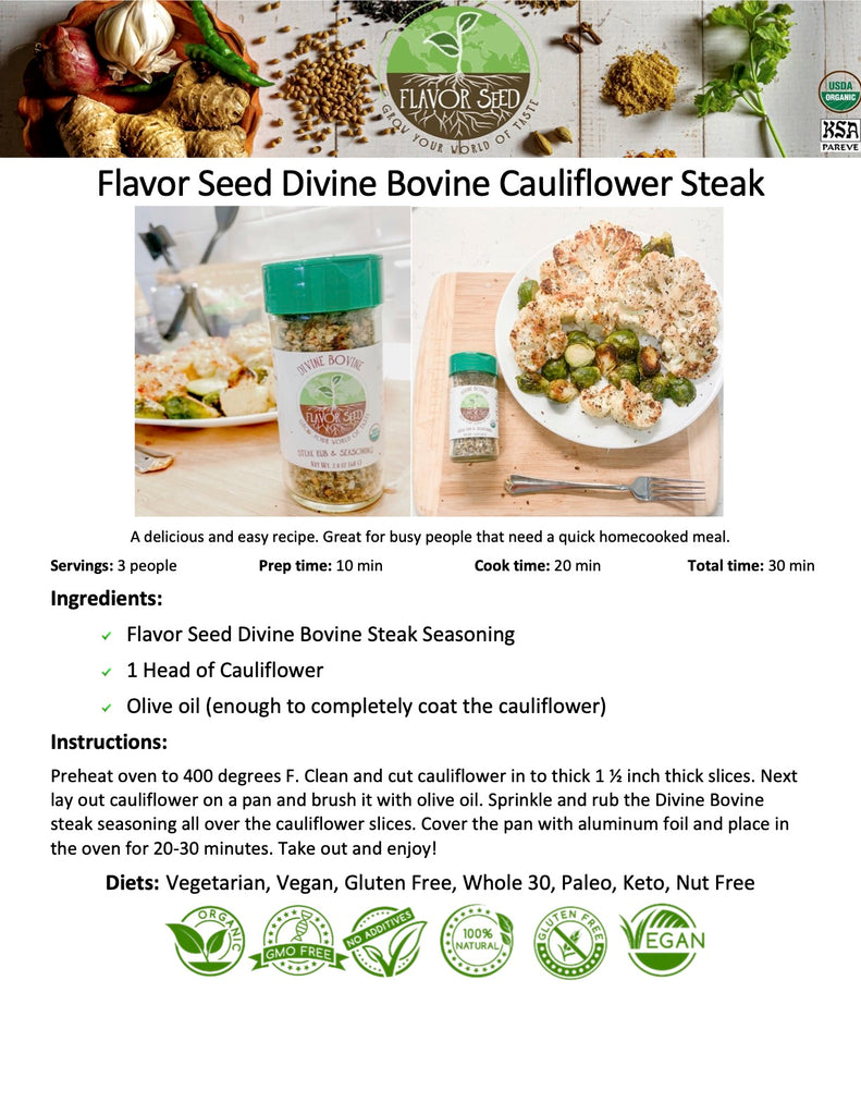 Flavor Seed Divine Bovine Roasted Cauliflower Steak Vegan Organic