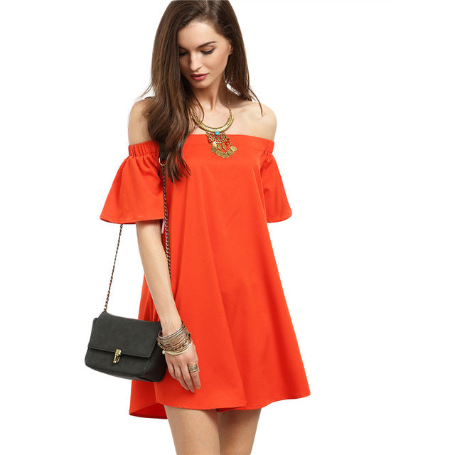 Shoulder Shift Short Dress Women