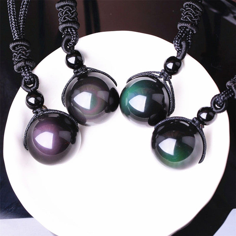Black Obsidian Rainbow Eye Beads Ball Natural Stone Necklace Pendant Transfer Lucky Love Crystal Jewelry Free Rope For Women Men