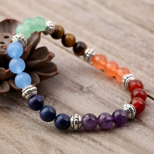 DOKOL 7 Chakra Natural Stone Beaded Bracelets Yoga Healing Crystals Silver/ Gold Color Bracelet Women Or Man Jewelry DKB0122