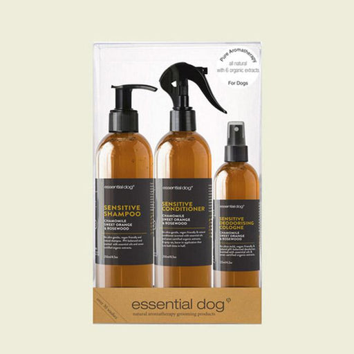 Essential Dog Sensitive Grooming Gift Pack: Chamomile, Sweet Orange & Rosewood