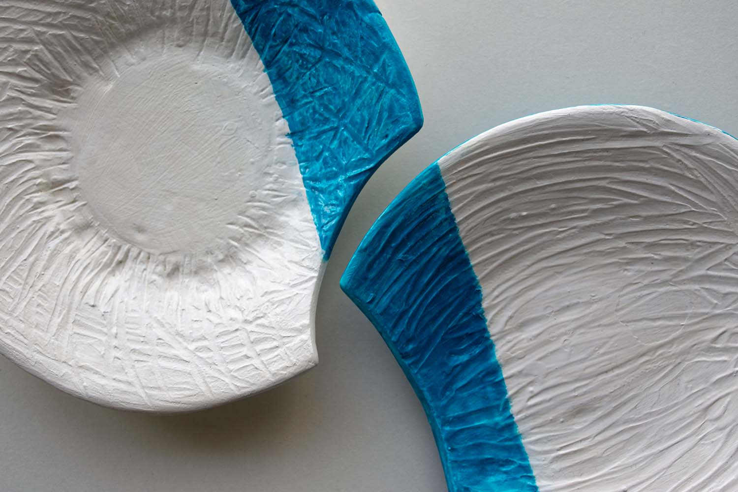 White-Teal Double Ceramic Plate