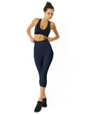 High Waisted Yoga Capri Leggings - Navy Blue