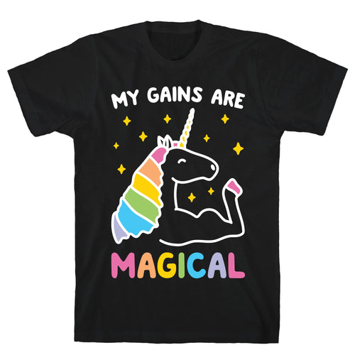 My Gains Are Magical Black Unisex Cotton Tee
