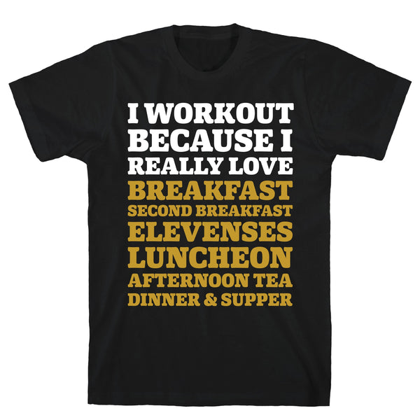 I Workout Because I Love Eating Like a Hobbit Black Unisex Cotton Tee