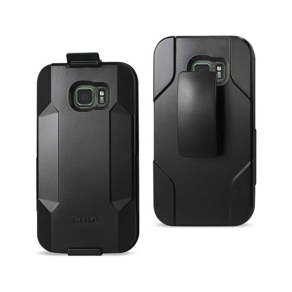 REIKO SAMSUNG GALAXY S7 ACTIVE 3-IN-1 HYBRID HEAVY DUTY HOLSTER COMBO CASE IN BLACK