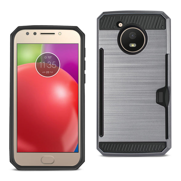 REIKO MOTOROLA MOTO E4 ACTIVE SLIM ARMOR HYBRID CASE WITH CARD HOLDER IN GRAY