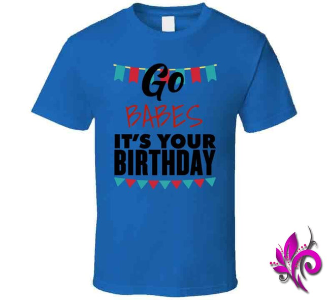 Go Babes Its Your Birthday Classic / Royal Blue / Small Express Tee