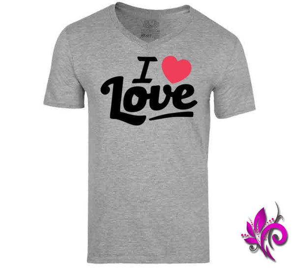 I Love Love V-Neck / Sport Grey / Small Express Tee