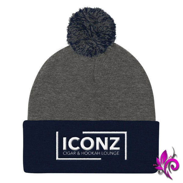 ICONZ Pom Pom Knit Cap Dark Heather Grey/ Navy ICONZ
