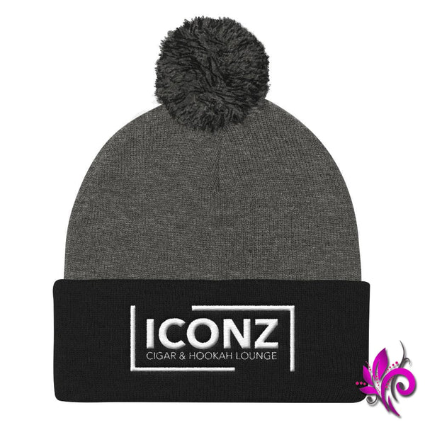 ICONZ Pom Pom Knit Cap Dark Heather Grey/ Black ICONZ