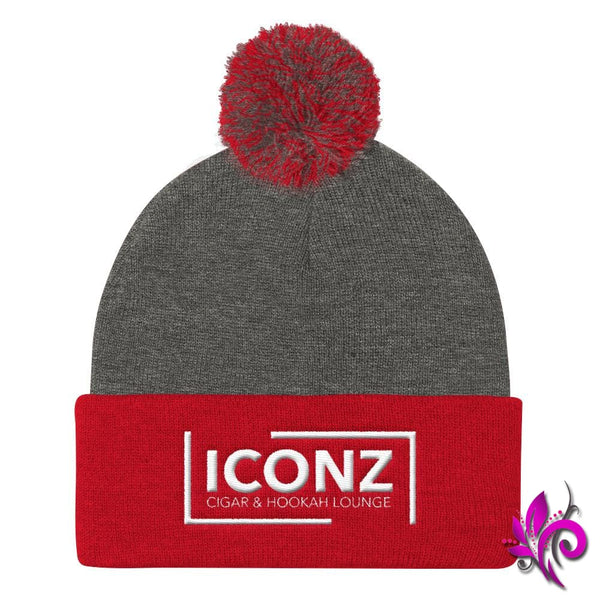 ICONZ Pom Pom Knit Cap Dark Heather Grey/ Red ICONZ