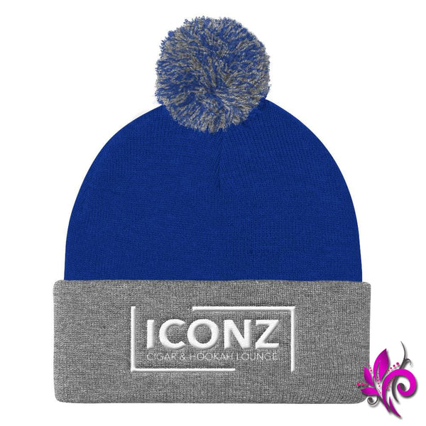 ICONZ Pom Pom Knit Cap Royal/ Heather Grey ICONZ