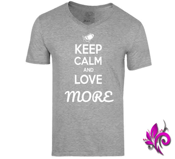 Keep Calm And Love More V-Neck / Sport Grey / Small T-Shirt
